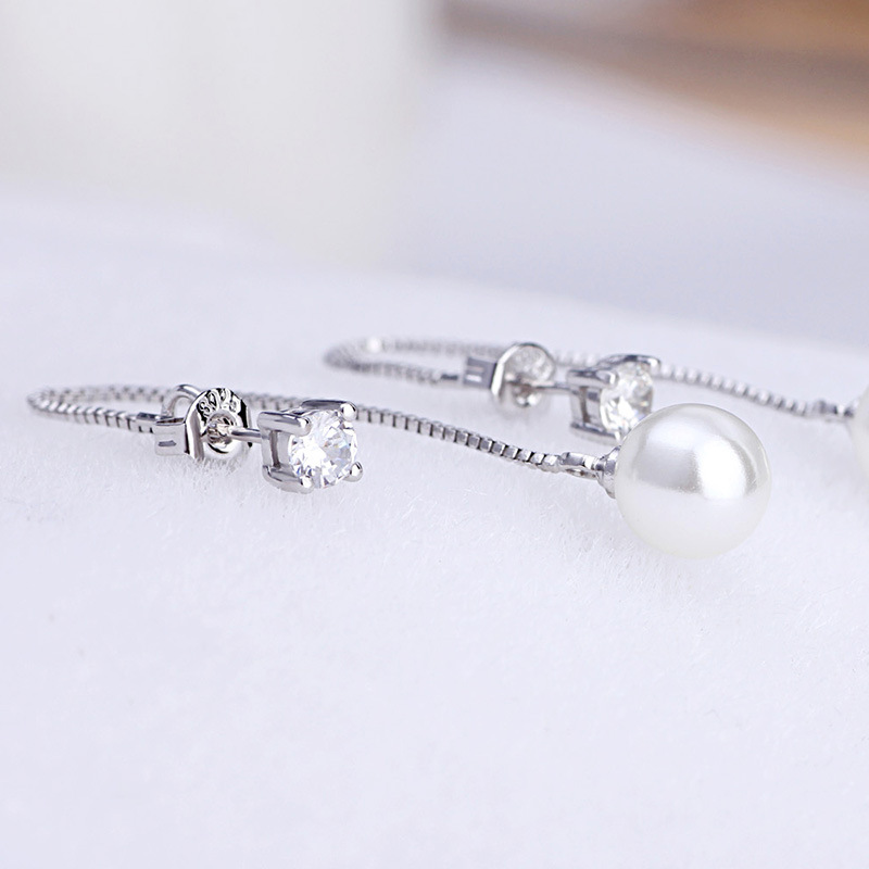 100 925 sterling silver fashion imitation pearl crystal ladies tassels stud earrings jewelry female Anti allergy drop shipping in Stud Earrings from Jewelry Accessories