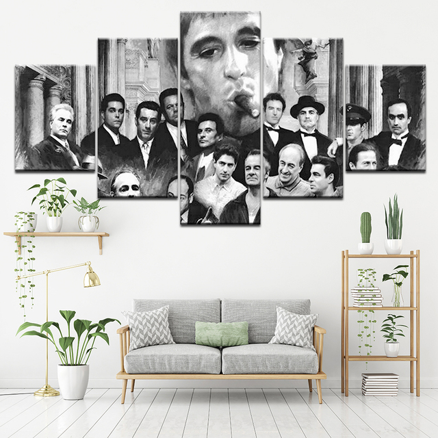 Canvas Painting Godfather Goodfellas Scarface Sopranos 5 Pieces ...
