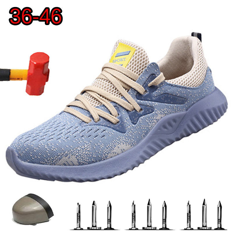 Light Meat Bottom Tendon Safety Shoes Men Deodorant Dreathable Steel Toe Cap Anti-perforation Women's Soft Bottom Work Shoes