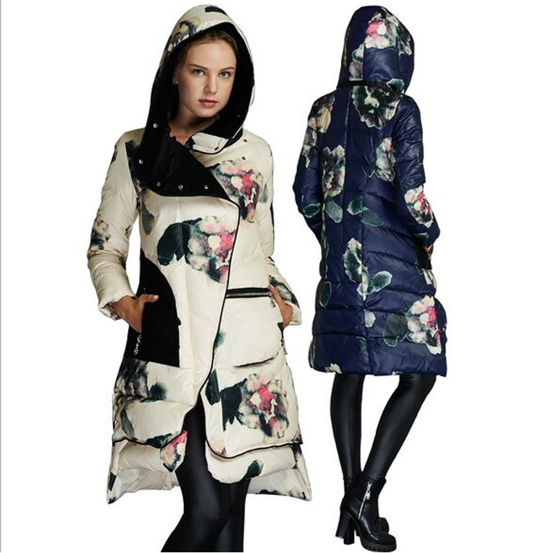 High Quality 2018 Winter Jacket Woman's Floral Print White Duck   Down   Parka Thick Warm Female Jacket Winter   Coat   Women