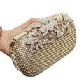 Metal Flower Crystal Evening Bag Clutch Bags Clutches Wedding Purse Rhinestones Wedding Handbags Silver/Gold/Black Evening Bag