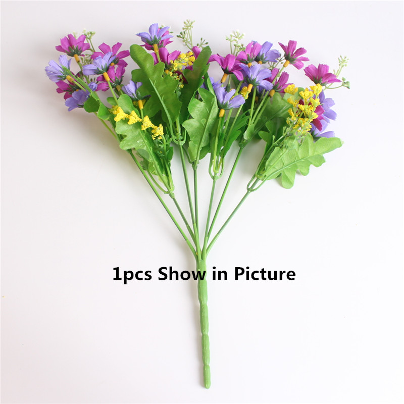 Cute Silk Daisy Artificial Flower With One Bouquet 7 Branch 28 Heads For Wedding Decoration 7