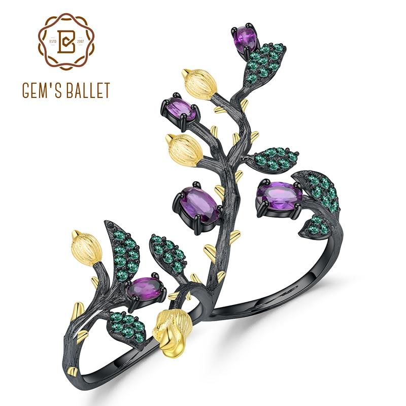 GEM S BALLET 1 57Ct Natural Amethyst Double Finger Ring 925 Sterling Silver Vintage Branch Adjustable