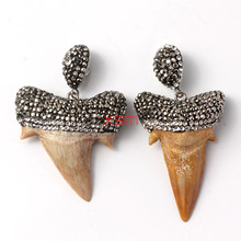 Genuine Oceanic Shark Tooth Stone Pendant Inlay Crystal Rhinestone Fit Pendant Necklace