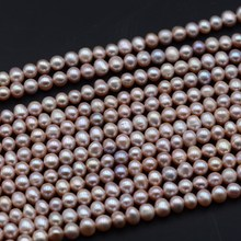 Grade AA+ Cultured Freshwater pearl potato Shape 6-7mm Pink Pearls Beads full strand(China)