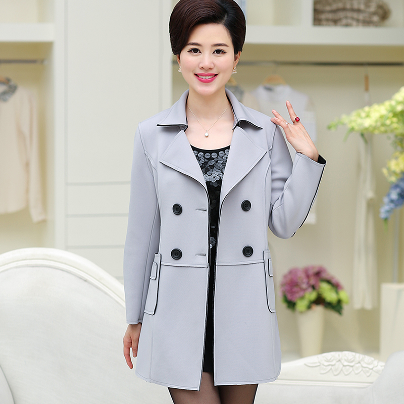 2017 Spring Autumn Elegant Casual Mother Basic Double Breasted Jacket Fashion Middle Age Women Coat Female Slim Outerwears Y202