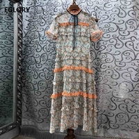 High Quality Runway Dress 2019 Summer Fashion Women Ruffled Collar Elegant Floral Print Orange Lace Patchwork Mid Calf Dress XL