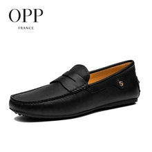 OPP 2017 Cow Leather Flats Casual Comfortable Driving Shoes Genuine Leather Loafers For Men Shoes moccasins Summer Mens Footwear