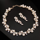 New Wedding Jewelry Gold color Sweet Style Imitation Pearl Necklace Sets Wedding Accessories for Bride Bridesmaid