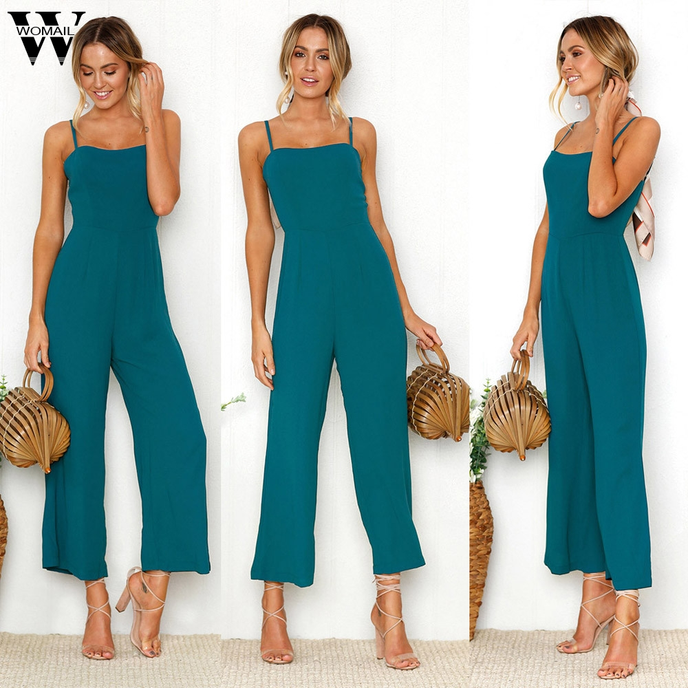 Womail bodysuit Women Summer Casual Straps Zipper Holiday Playsuit Ladies Long Beach Jumpsuit Playsuit Jumpsuit 2019  M1