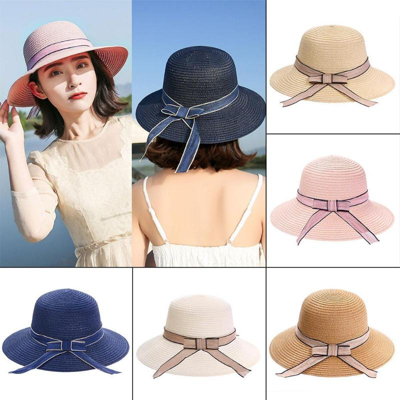 2018 New Fashion Summer Straw Sun Hat Women Bowknot Wide Brimmed Panama Foldable Hat Beach Casual Sun Hats Caps for Female Girls