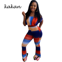Kakan new womens sexy print jumpsuit two-piece fashion gradient striped word collar speaker