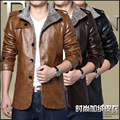 Autumn and Winter New Slim Male Biker Jacket Brand High-Quality Men Iacket Lapel Plus Cashmere PU Leather Jacket Men Fashion
