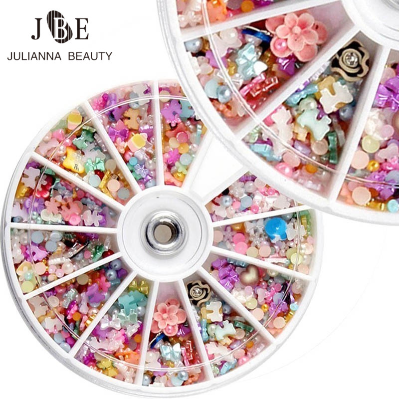 1 Boxes Glitter 3D Nail Bows Art Decoration With Rhinestones Nails Charms Jewelry On Nails Salon Tool Manicure+Box Free Shipping 10pcs pack glitter green rhinestones nail art decorations alloy 3d nail jewelry charms nails tools free shipping
