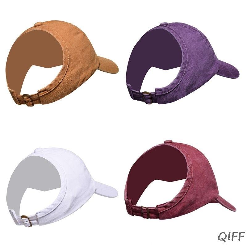 Women Men Half Empty Top Sunshade Baseball Cap Vintage Washed Color Backless Ponytail Messy Bun Sports Adjustable Trucker Hat