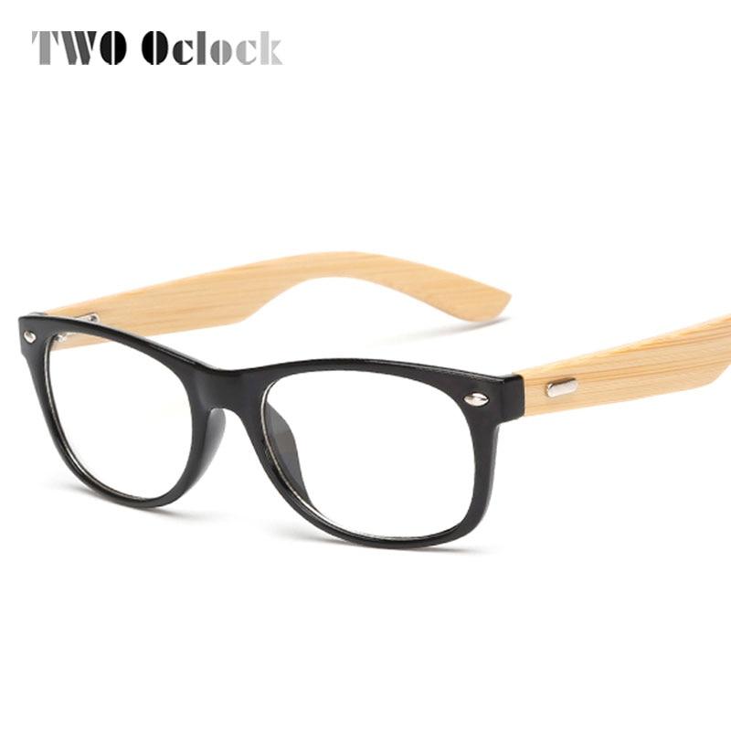 Bois de bambou en bois pour homme décontracté Sports monture de lunettes, Noir