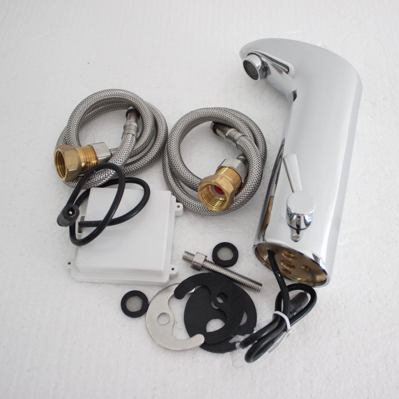 Capteur automatique robinet lavabo évier chaud et froid mélangeur mains libres Chrome poli évier robinet de vanité ZR1013 - 6