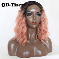 QD Tizer Black Ombre Pink Short Heat Resistant Hair Anime Cosplay Blogger Daily Makeup Synthetic Lace Front Wedding Party Wig