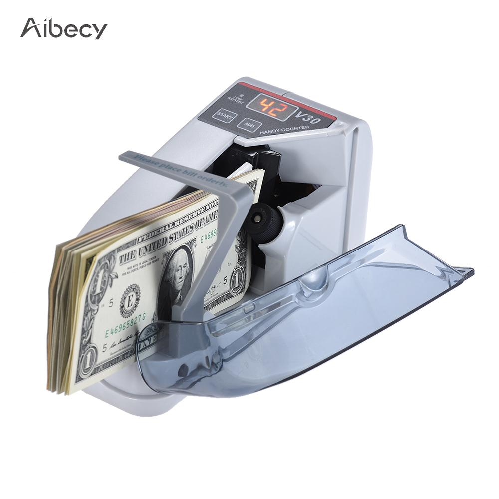 Aibecy Mini Money Counter Handy Bill Cash Banknote Counter Money Currency Counting Machine AC or Battery