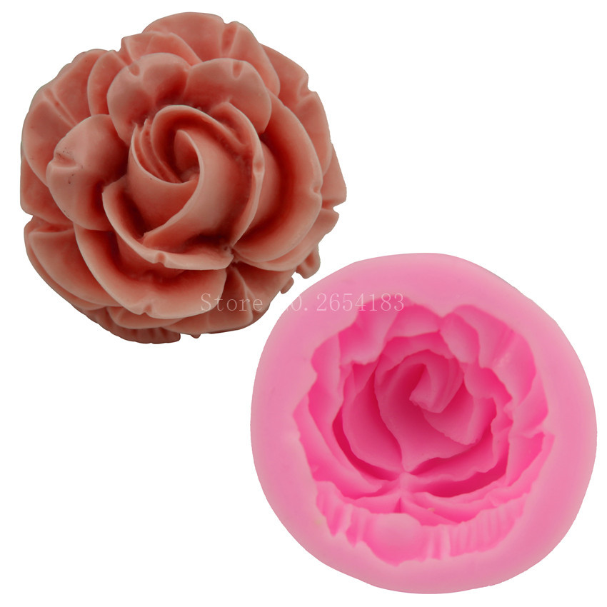 Bloom Rose Silicone Cake Mold 3D Flower Fondant Mold Cupcake Jelly Candy Chocolate Decoration Baking Tool Moulds FQ2825 5