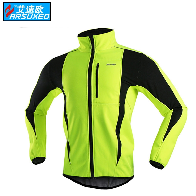 ARSUXEO Thermal Cycling Jacket motocross Winter Warm Up Bicycle Clothing Windproof Waterproof Soft shell Coat MTB Bike Jersey