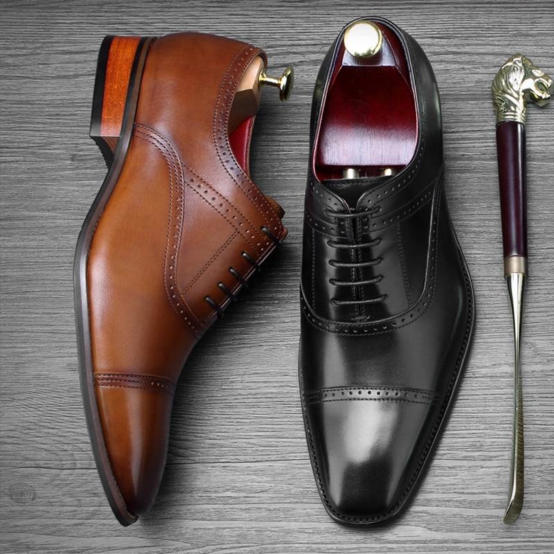 Wohnungen Goodyear Brogue Vintage Leder Grund Herren Schuhe Formale Aus Partei Kleid Ss407 Spitz brown Schwarzes Geschnitzt Oxfords Echtem Mann Hochzeit qZFSqAwa