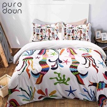 Puredown Home Quality Printed Pillow Case 3pcs/Set  Egyptian Cotton Bedding Set Duvet Cover Pillowcase Bedding Set