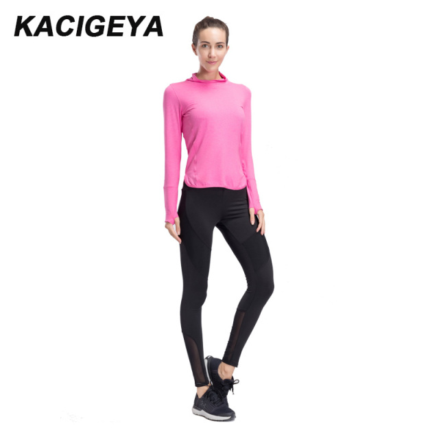f2e779e0c48cd 2018 Women Yoga Sets Quick Dry Sportwear Gym Leggings Female Long T Shirt  Workout Sport Suit Running Wear Sexy Slim Fitness Set