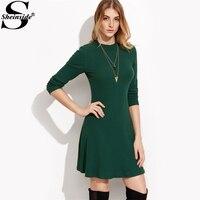 Sheinside 녹색 긴 소매 리브 스케이팅 드레스 여성 라운드 넥 우편 캐주얼 라인 짧은 드레스 2017