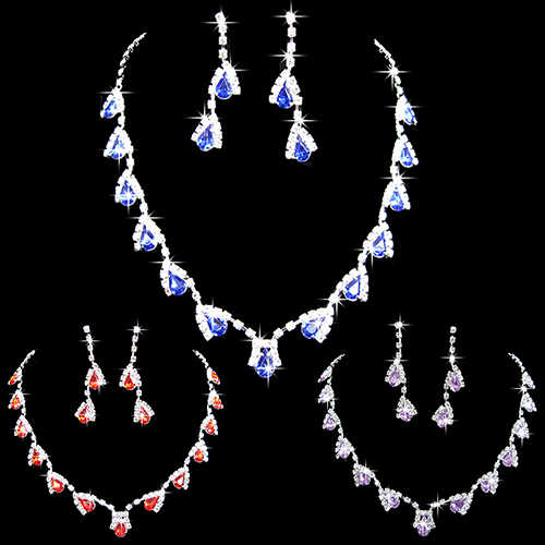 Women Dazzling Cubic Zirconia Necklace Crystal Pendant Earrings Bridal Jewelry Set 7UY A8RJ