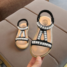 New Summer Baby Girl Roman Style Sandals Kids Beach Sandals Girls Pearl Beading Dress Shoes Baby Rhinestone Summer Shoes