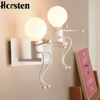 Creative Modern Interior Iron LED Wall Lamps Children Room Wall Sconces Bedroom Bedside Wall Light For