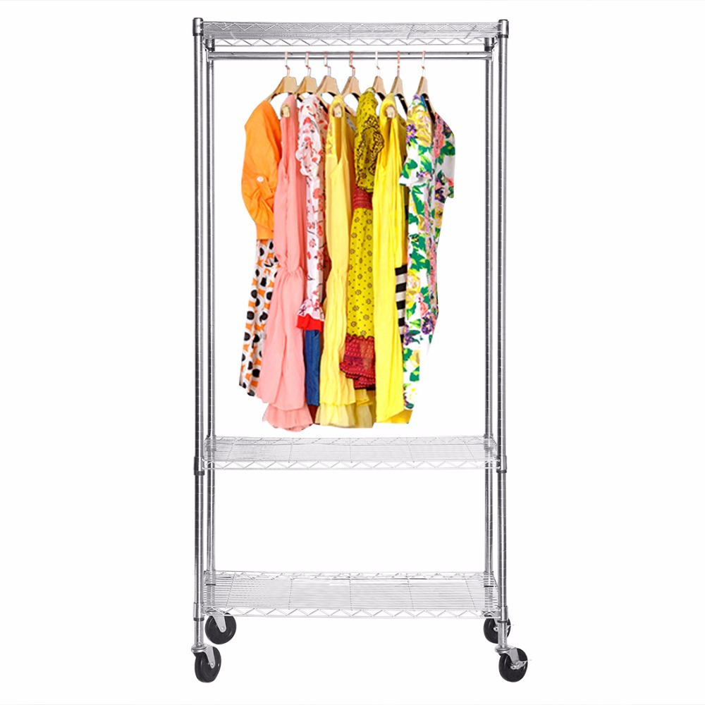 HLC Multi-purpose Heavy-duty Rolling Coat Clothes Stand Rail and Shelving Garment Rack with Hanging Bar Xmas Gift Garment Rack new arrival multi purpose heavy duty impact screwdriver set driver chisel bits tools socket kit with case high quality