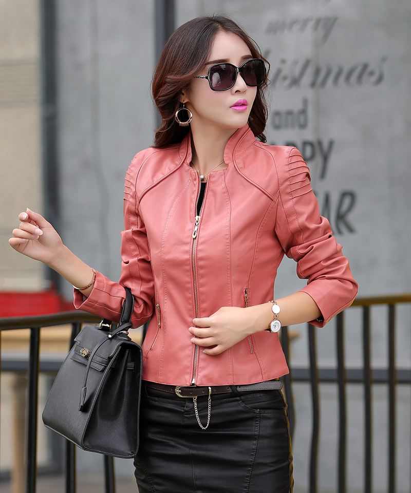 Leather Jacket Women Fashion Slim Fit Short Suede Coat for Female Motocycle leather clothes for lady