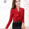 Mulheres Laço Vermelho Frente Blusas Com Arco Moda Manga Comprida Chiffon Tops Estilo Coreano Escritório Feminino Camisas plissado Design Elegante