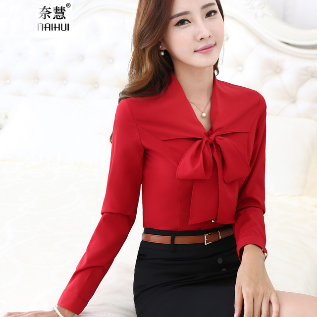 cf436d90244 Women Tie Front Red Blouses With Bow Fashion Long Sleeve Chiffon Tops  Korean Style Female Office ruffle Shirts Elegant Design
