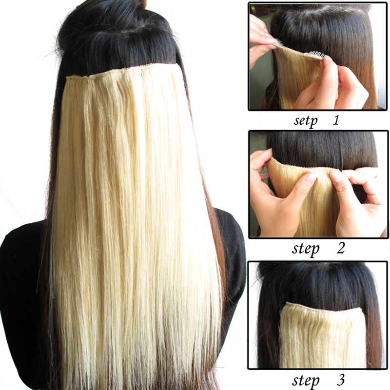 1pc Silky Straight Clip In Hair Extension Lace 3 Layers Clip In Hair