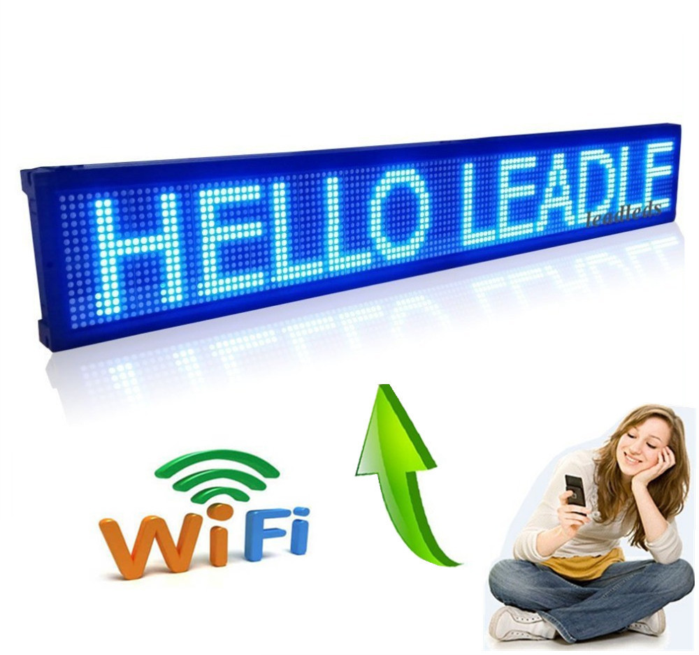 40 x 6.3 inch Blue LED sign wireless and usb programmable rolling information P7.62 indoor led display screen