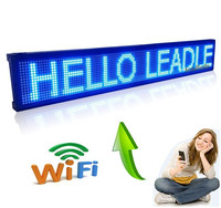 40 X 6 3 WIFI And USB Programmable Indoor Advertising LED Display Sign Board Pure Blue