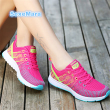 Купить с кэшбэком Running shoes for woman 2018 Breathable mesh Sport Shoes woman Sneakers shoes women Outdoor on foot Trainers arena Athletic N861