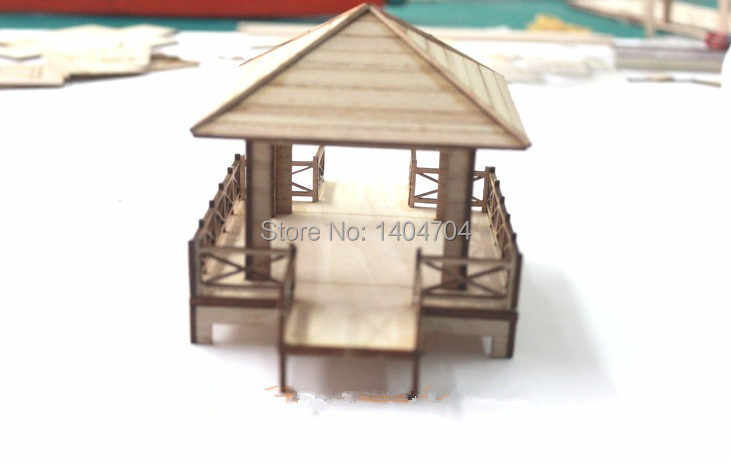 DIY assembling puzzle Chinese Classic Ancient wooden bower model Four corners arbour model