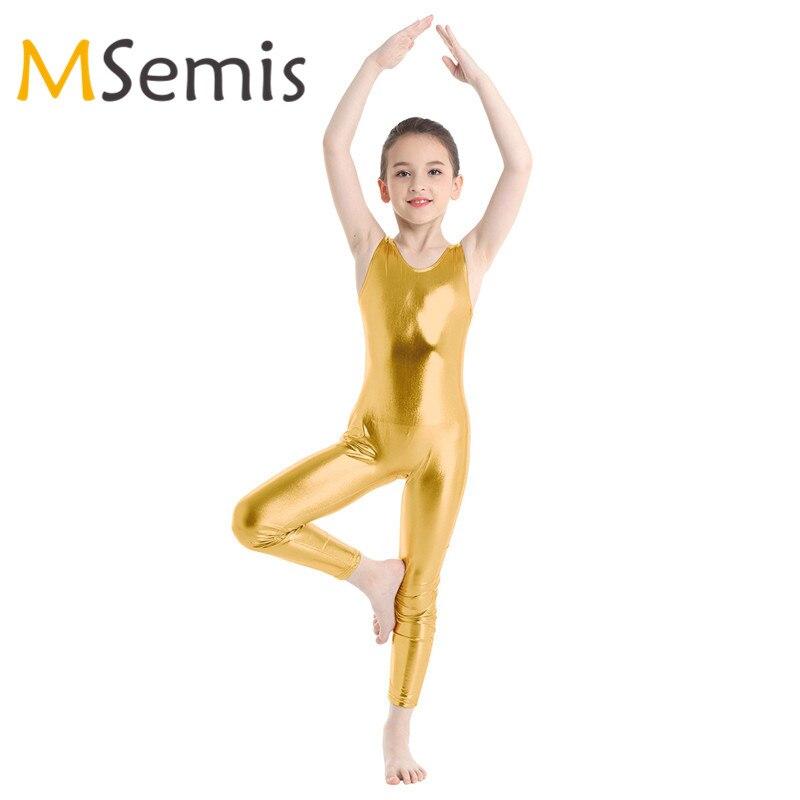 Kids Girls Gymnastic Swimsuit For Girls Ballet Clothing Shiny Ballet Dance Gymnastics Leotard Ballet Jumpsuit Unitard Dancewear