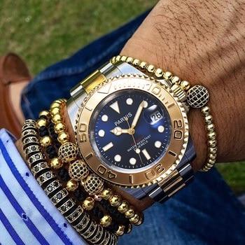 New Parnis 40MM Gold Bezel Mechanical Automatic Men Watches Stainless Steel Bracelet Waterproof Men's Watch zegarki meskie 2019