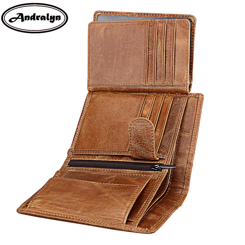 Andralyn Men Crazy Horse Leather Wallets Vintage Men's Genuine Leather Wallet Trifold Purse Card Holder for Men man standard wallets crazy horse leather 2018 new fashion men brand vintage genuine leather wallet card