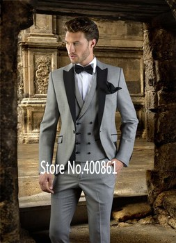 New Fashion Ivory Mens Dinner Party Prom Suits Groom Tuxedos Groomsmen Wedding Blazer Suits (Jacket+Pants+Vest+Tie) K:2165