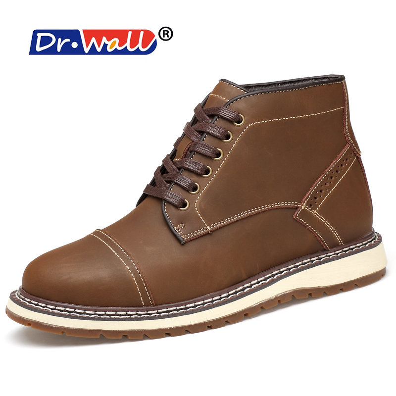 Tactical Boots Dr.wall Men Casual Caw Leather Boots Outdoor Work Shoes Mens Hot Sale Light Brown Driving Breathable Lace Up