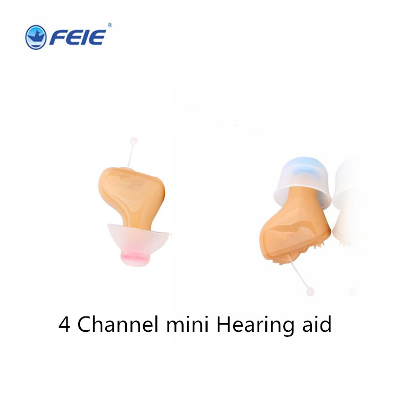 Super Mini Listening Earphones Deafness 4 Channel Acousticon Hearing Aid Invisible Ear Aid Free SHipping S-100A digital amplifeir adjust super mini hearing aides invisible audifonos sordos s 15a in ear retail on aliexpress
