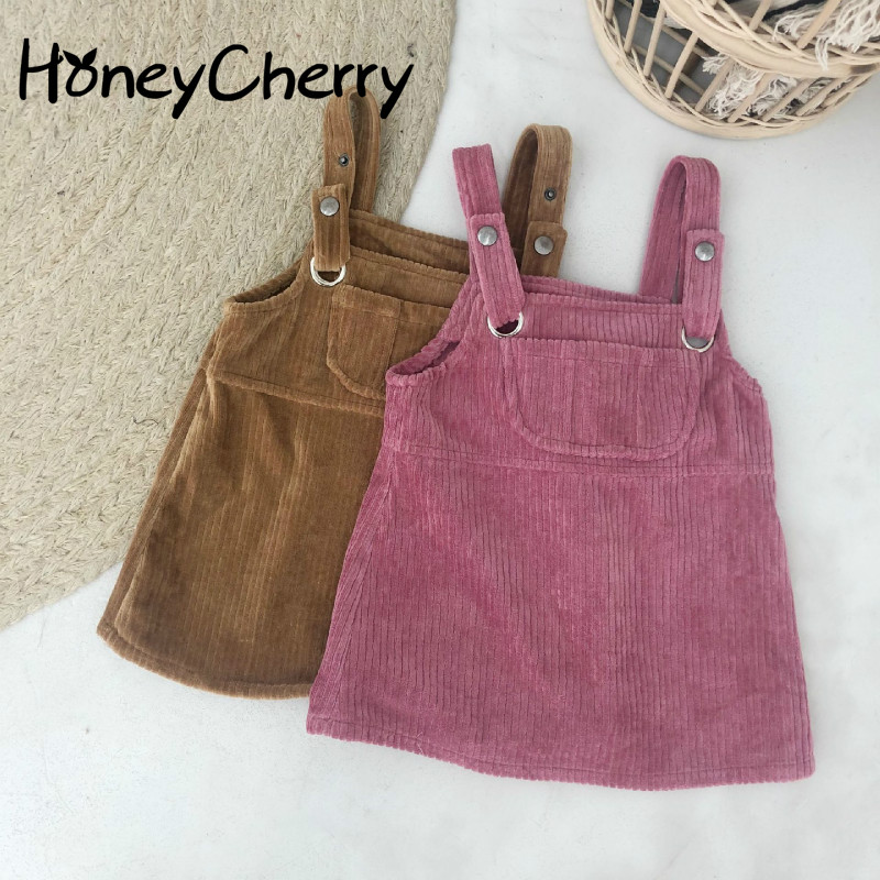 2018 Autumn Winter New Corduroy Pure Color A Skirt Children's Girl's Strap Skirt Color Overalls Kids Girls Jumpsuit plus solid tailored bardot jumpsuit with skirt overlay