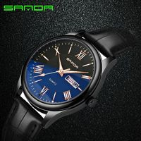 SANDA Men S Watch Luxury Brand Men Quartz Watches Men S Waterproof Leather Sports Watches Men