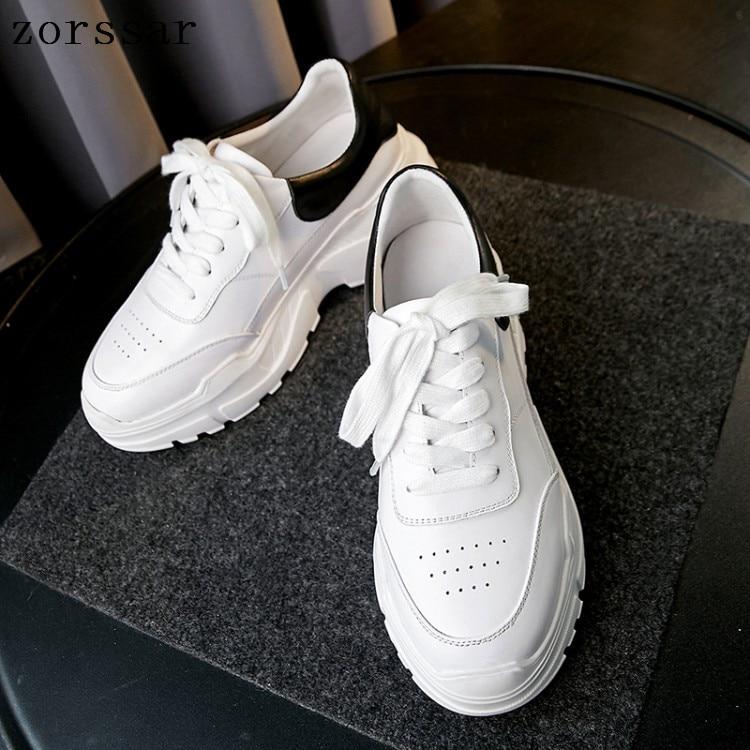 Baskets à plate-forme blanche femmes en cuir véritable décontracté chaussures vulcanisées femme mode coréenne Zapatos De Mujer